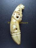 珍貴老虎牙  彫成老虎形, 精雕細琢 Luang Pho Pan 龍婆班弟子 Wat Sam Ka Sin 屈三格時 (已售)