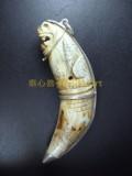 珍貴駱駝牙 彫成老虎形  牙上刻有經文 (已售)